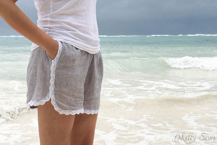 Side view - Sew these DIY shorts with a free pattern from Melly Sews