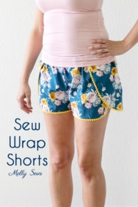 Wrap around fly away shorts - Sew Pom Pom Trim Wrap Shorts - Sew bohemian style pajamas with this tutorial by Melly Sews