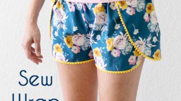 Wrap around fly away shorts - Sew Pom Pom Trim Wrap Shorts - Sew bohemian style pajamas with this tutorial by Melly Sews