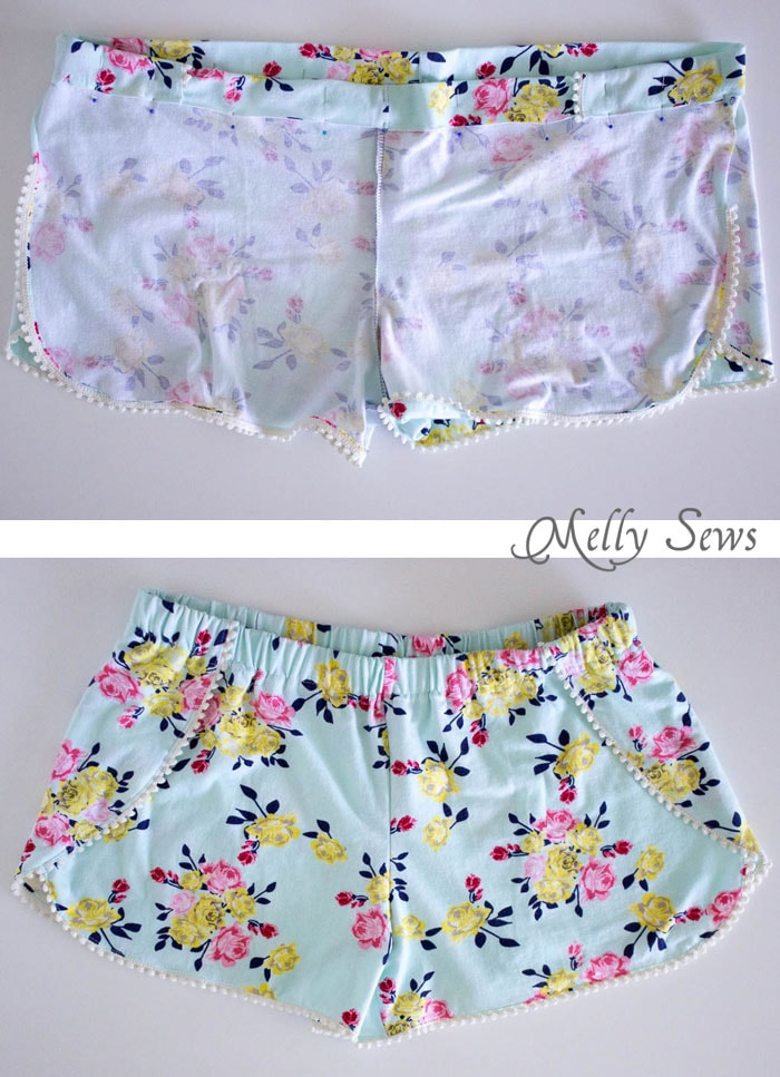 8b1d4428dfee71 Step 4 - DIY Pom Pom Trim Shorts - These easy to make shorts are at