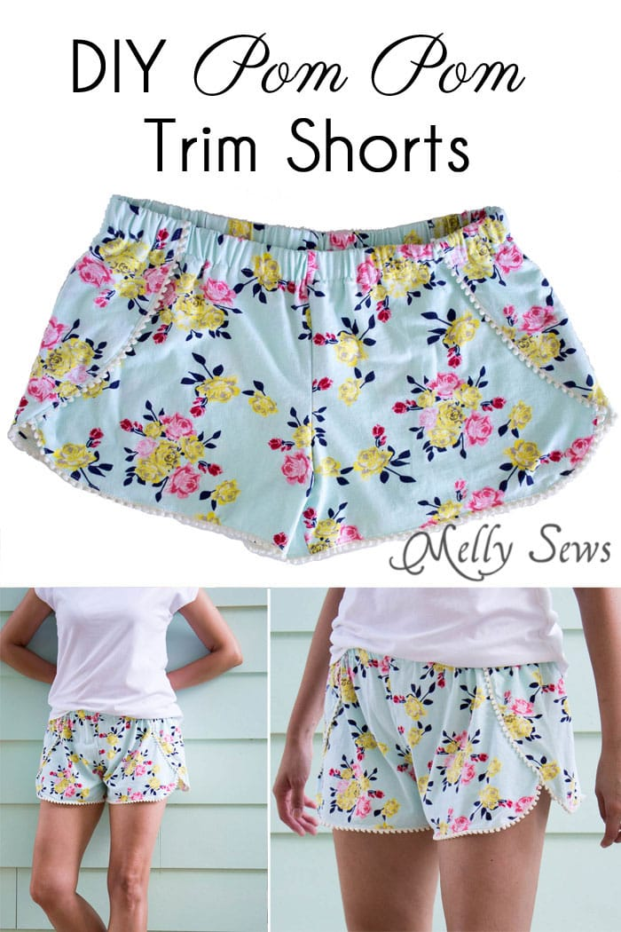 photograph regarding Free Printable Toddler Shorts Pattern called Sew Pom Pom Shorts with Free of charge Behavior! - Melly Sews