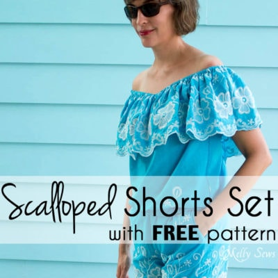 Scalloped Shorts & Off the Shoulder Top – Summer Sewing Series with Polka Dot Chair