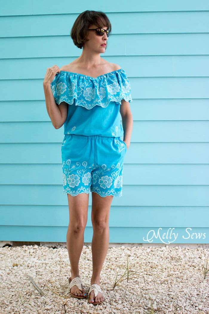 Must make! Make this Set - like a Romper, but better! Sew a DIY off the shoulder top and shorts - Melly Sews