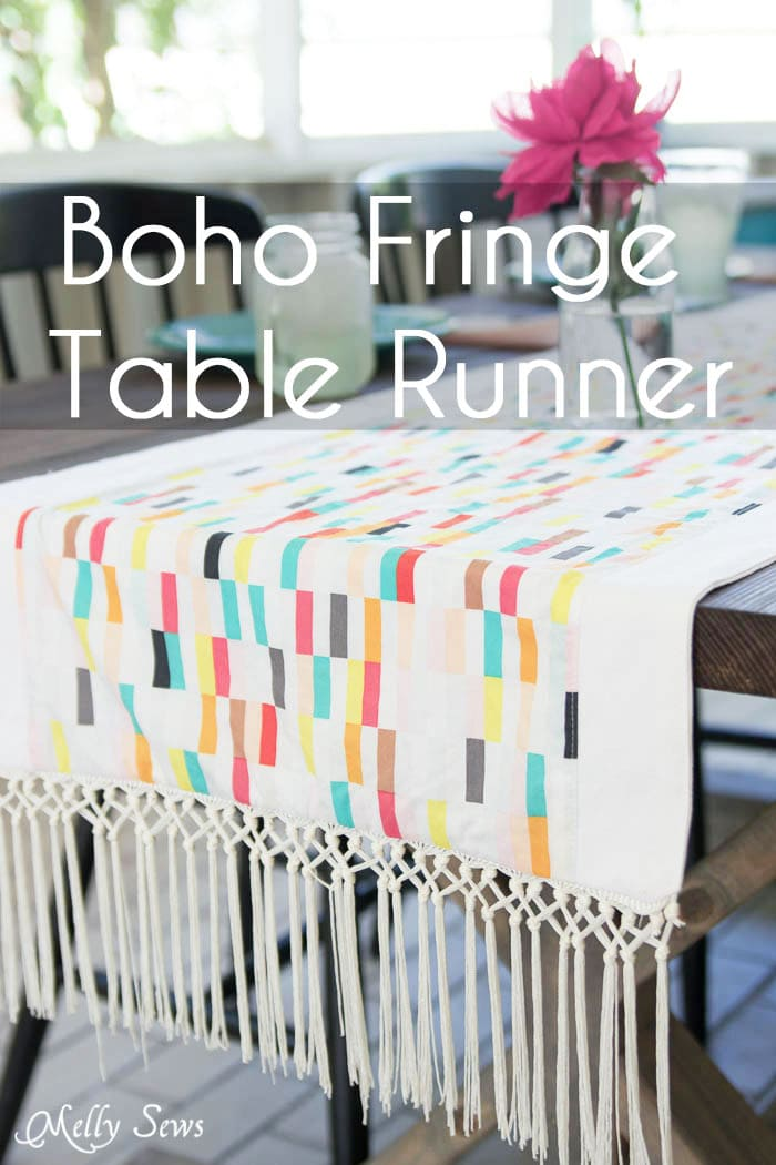Love this cheerful palette! - Boho Fringe Table Runner Tutorial - Boardwalk Delight Fabrics - Melly Sews