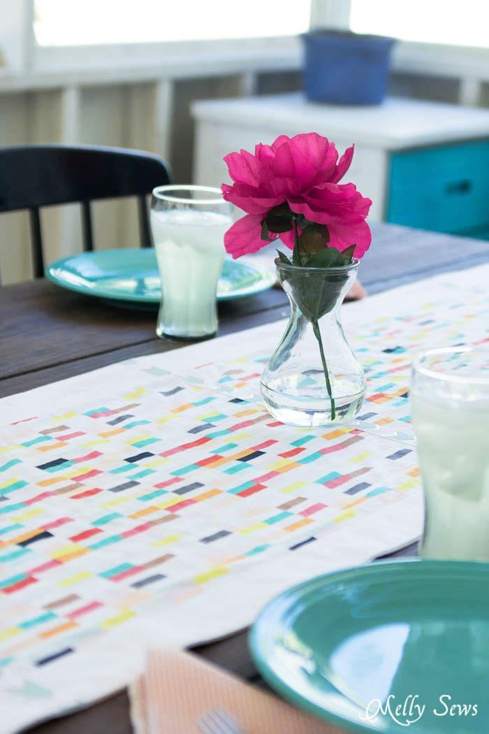 Great colors! - Boho Fringe Table Runner Tutorial - Boardwalk Delight Fabrics - Melly Sews