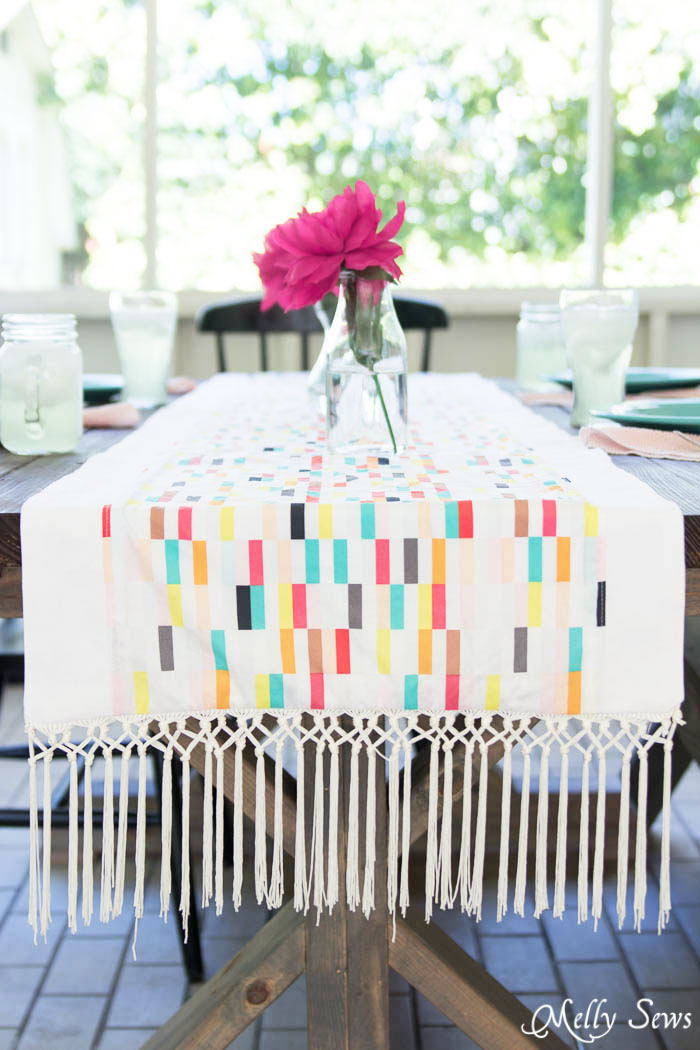 The fringe! - Boho Fringe Table Runner Tutorial - Boardwalk Delight Fabrics - Melly Sews