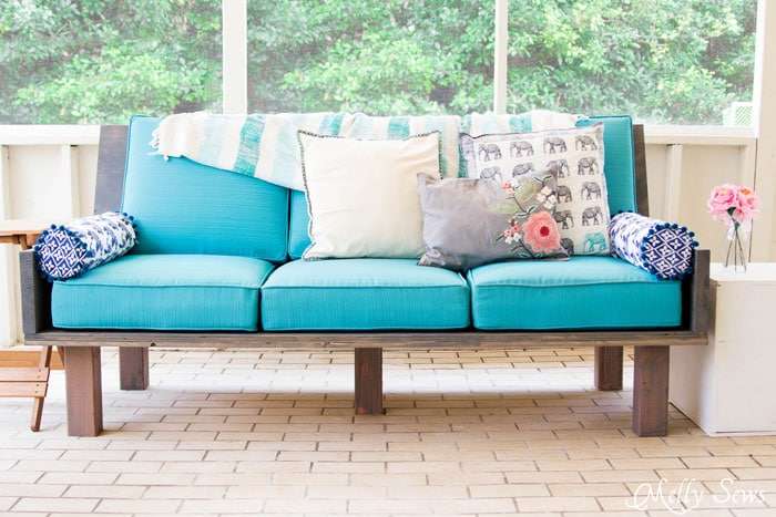 Colorful Outdoor Sofa - Make a DIY outdoor sofa from plywood - love the minimalist lines! - Melly Sews