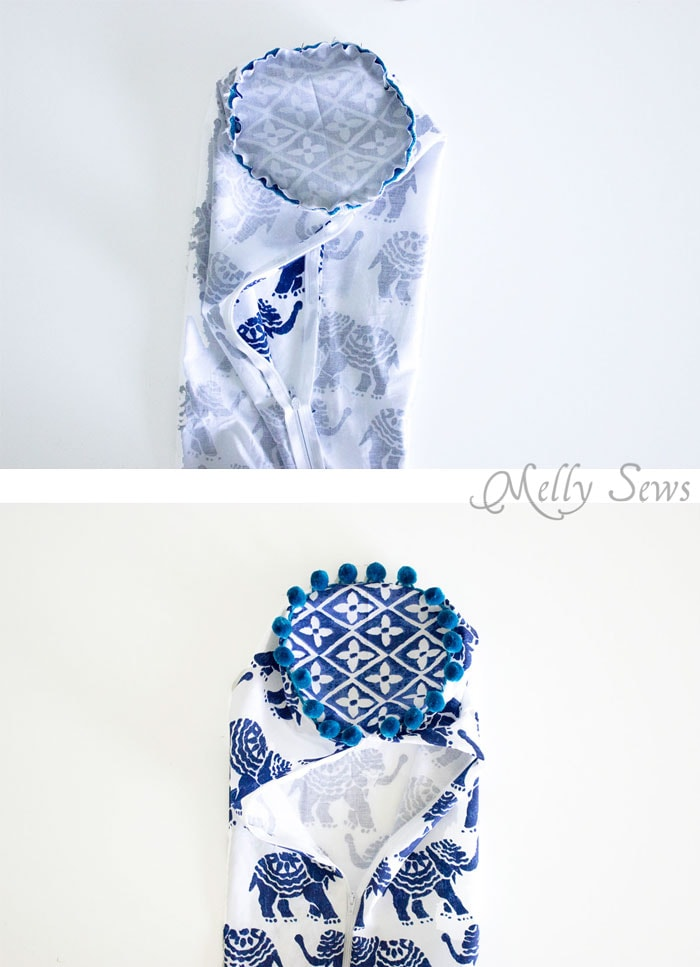 Step 3 - Sew a Bolster Pillow - Bolster Pillow Tutorial - Love this Boho Style pillow with pom pom trim! - Melly Sews