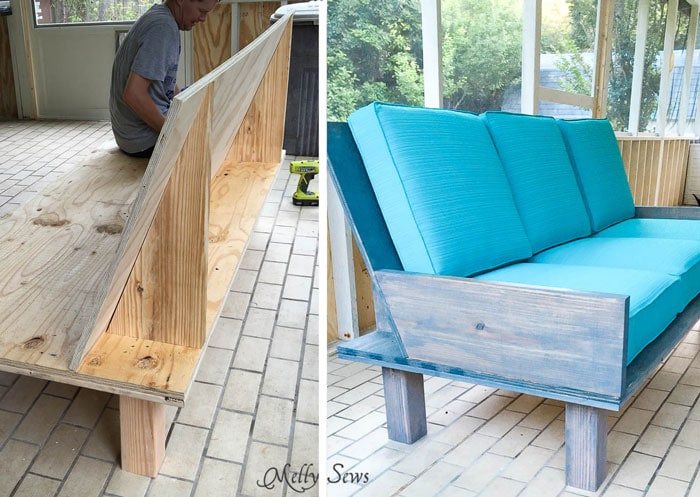 Step 3 - Make a DIY outdoor sofa from plywood - love the minimalist lines! - Melly Sews