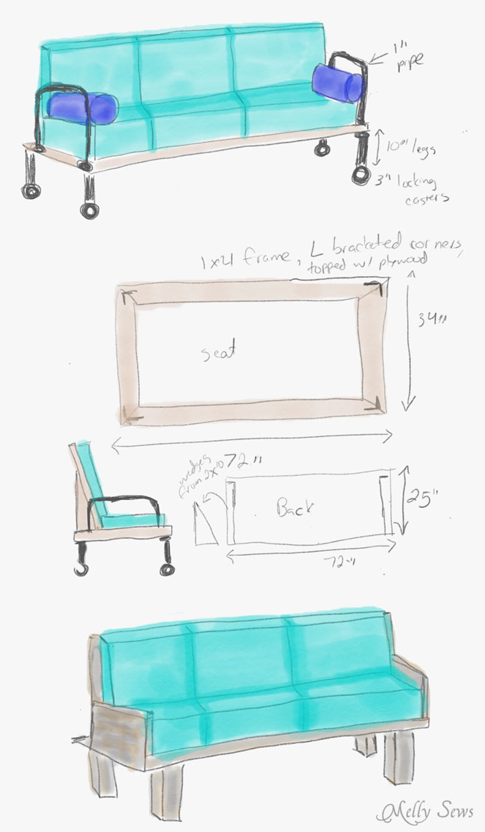 Sketched plans - Make a DIY outdoor sofa from plywood - love the minimalist lines! - Melly Sews