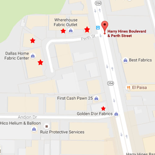Map of Shops - Warehouse Fabric Shopping in Dallas - a Guide to Inexpensive Fabric - Melly Sews