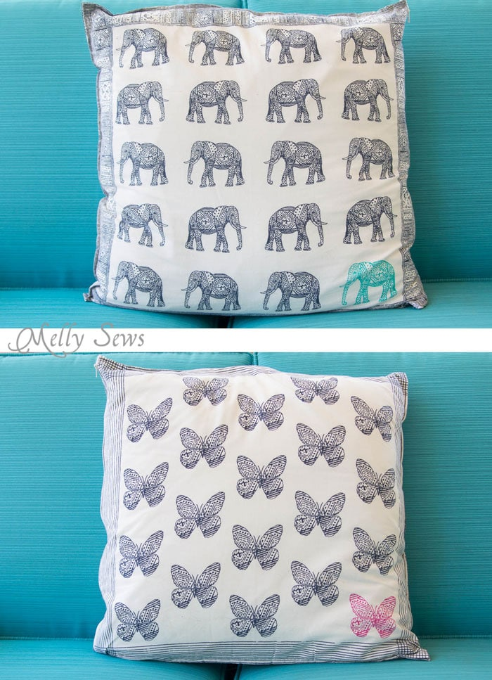 Pillow from dinner napkins - genius! So easy and so pretty! Sew decorative pillows from napkins and placemats - I would never have known that's what these are! DIY Tutorial by Melly Sews