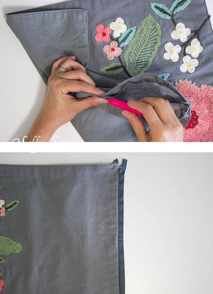 Step 1 - So easy and so pretty! Sew decorative pillows from napkins and placemats - I would never have known that's what these are! DIY Tutorial by Melly Sews