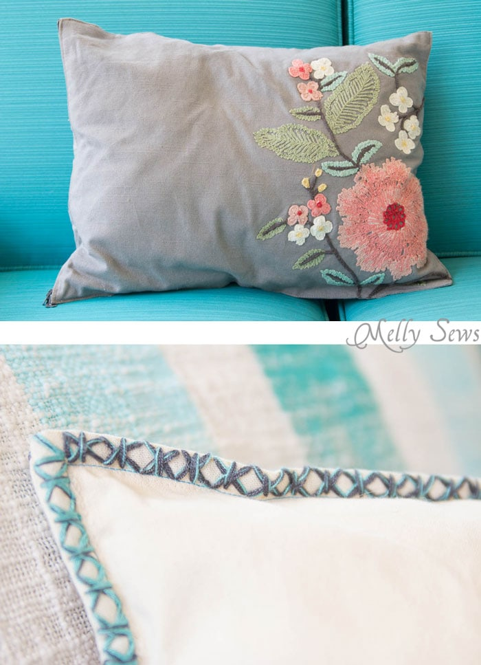 PIlow detail - So easy and so pretty! Sew decorative pillows from napkins and placemats - I would never have known that's what these are! DIY Tutorial by Melly Sews