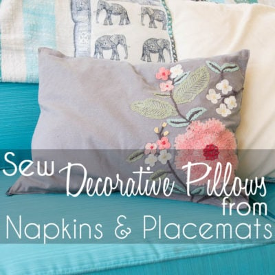 Sew Pillows from Placemats and Napkins