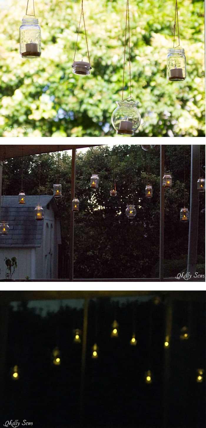 DIY Outdoor Patio Decorating - How to make Mason Jar Hanging Tea Lights - with environmentally friendly Solar Tea Lights