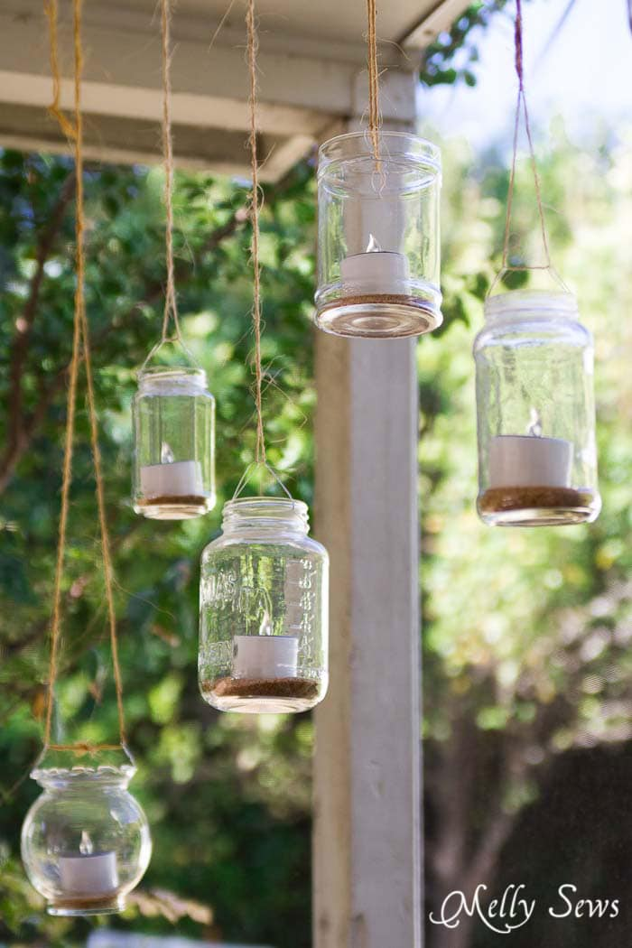 DIY Patio Decor - How to make Mason Jar Hanging Tea Lights - with environmentally friendly Solar Tea Lights