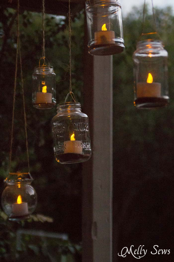 DIY Outdoor Decor - How to make Mason Jar Hanging Tea Lights - with environmentally friendly Solar Tea Lights