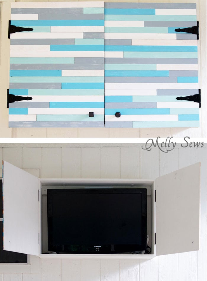 Closed and open - it's almost like hanging artwork - Build a DIY Outdoor TV Cabinet. This overview tutorial from Melly Sews shows how they did theirs and includes a supply list they used