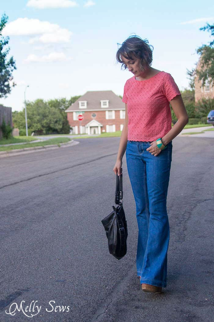 Outfit with a Vintage Vibe - Bell Bottom jeans and a cropped top - How to Fade Your Jeans - Tips and Techniques from Melly Sews