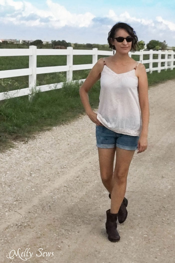 Bleached cut off shorts - How to Fade Your Jeans - Tips and Techniques from Melly Sews