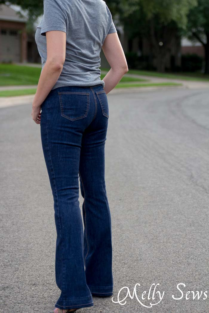 Rear view - Ginger Flares sewn by Melly Sews, pattern by Closet Case Files - Learn About Sewing Jeans