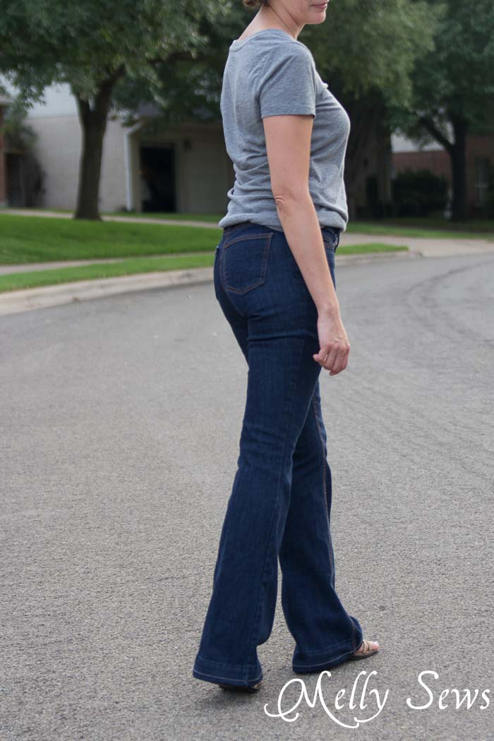 Side view - Ginger Flares sewn by Melly Sews, pattern by Closet Case Files - Learn About Sewing Jeans