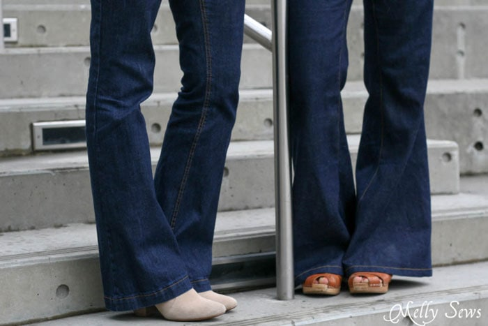 Ginger Flares sewn by Melly Sews and Birkin Flares sewn by Sew a Straight Line - Learn About Sewing Jeans