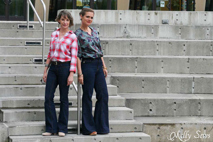 Ginger Flares sewn by Melly Sews and Birkin Flares sewn by Sew a Straight Line - Sew Jeans