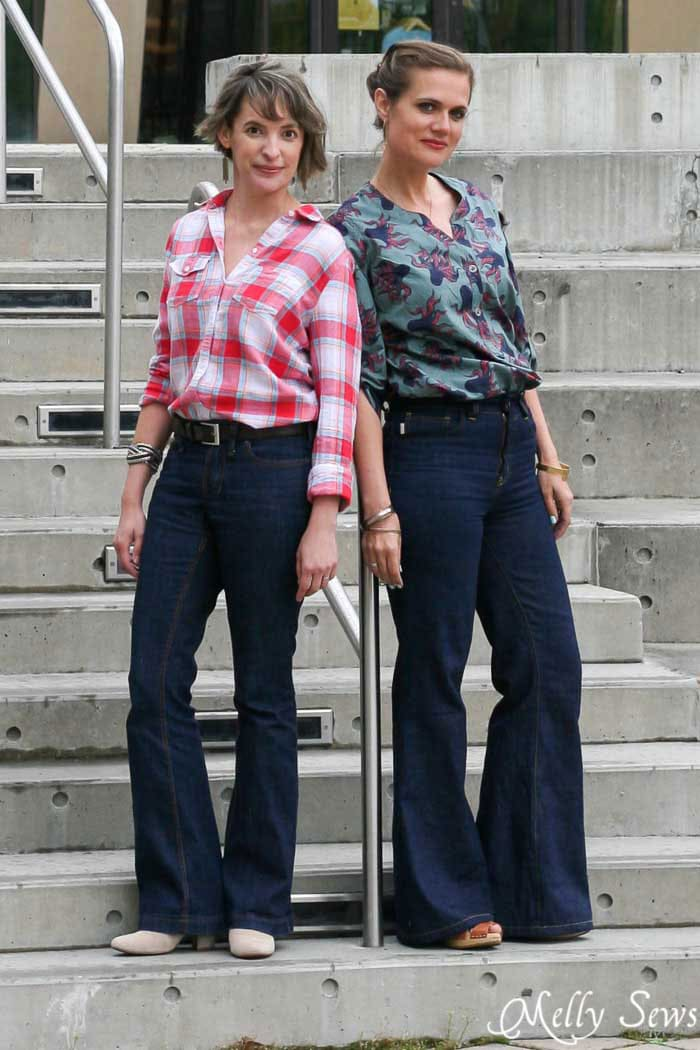 Ginger Flares sewn by Melly Sews and Birkin Flares sewn by Sew a Straight Line - Sewing Jeans for Yourself
