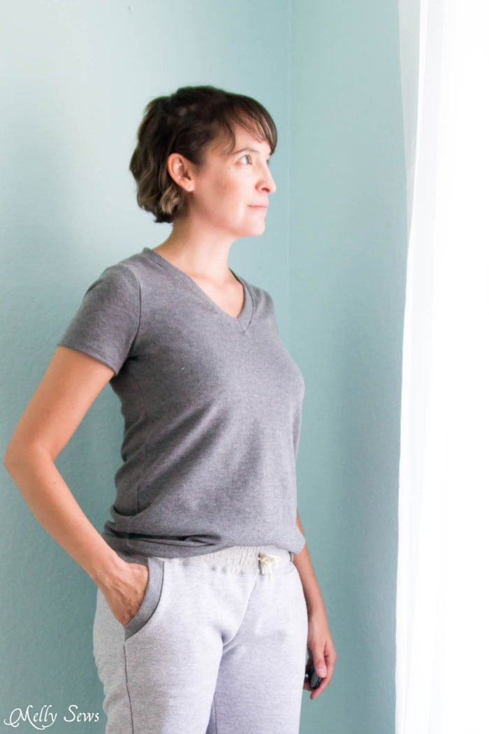 Gray Version - Sew a V-neck Women's T-shirt - Use this free pattern and tutorial from Melly Sews