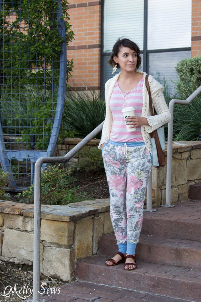 Floral Joggers - Hudson Pants sewn by Melly Sews