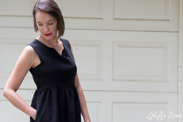 Modern and Classic Little Black Dress - How to Make a Dress Sleeveless - With a Lined Bodice - Sewing Tutorial by Melly Sews