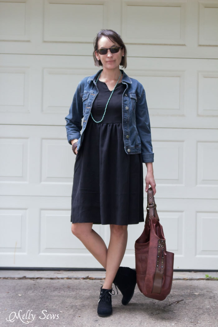 Casual Styling for a Little Black Dress - How to Make a Dress Sleeveless - With a Lined Bodice - Sewing Tutorial by Melly Sews