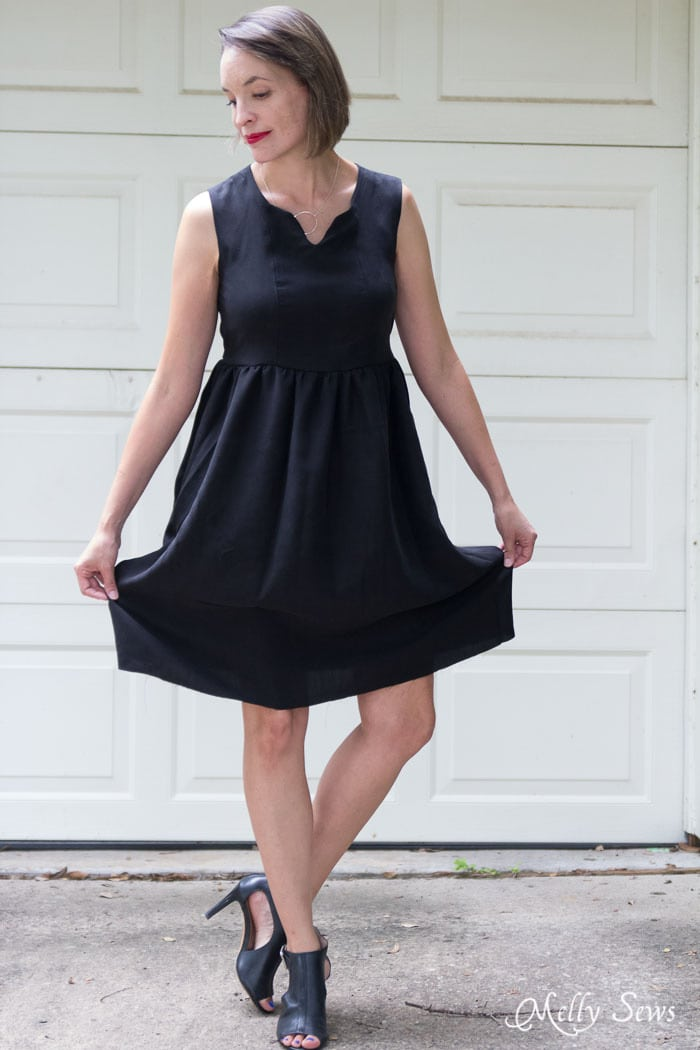 Style a Little Black Dress Sophisticated - How to Make a Dress Sleeveless - With a Lined Bodice - Sewing Tutorial by Melly Sews