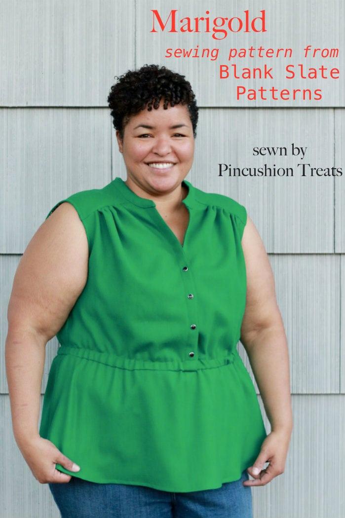 Blank Slate Patterns Marigold Peplum Top Sewn by Pincushion Treats