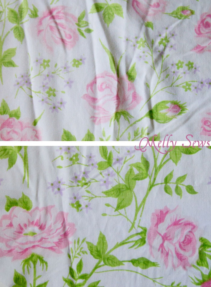 Vintage sheet print fading - How to sew with vintage sheets - tips, tricks, and fabric sources - Melly Sews