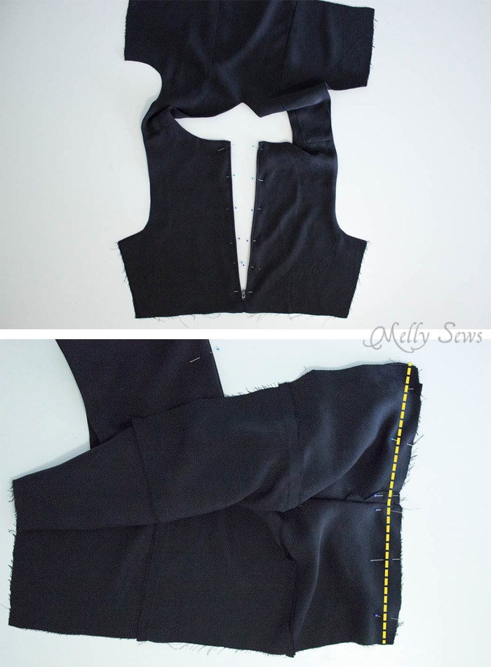 Step 3 - How to Sew a Sleeveless Dress - With a Lined Bodice - Sewing Tutorial by Melly Sews
