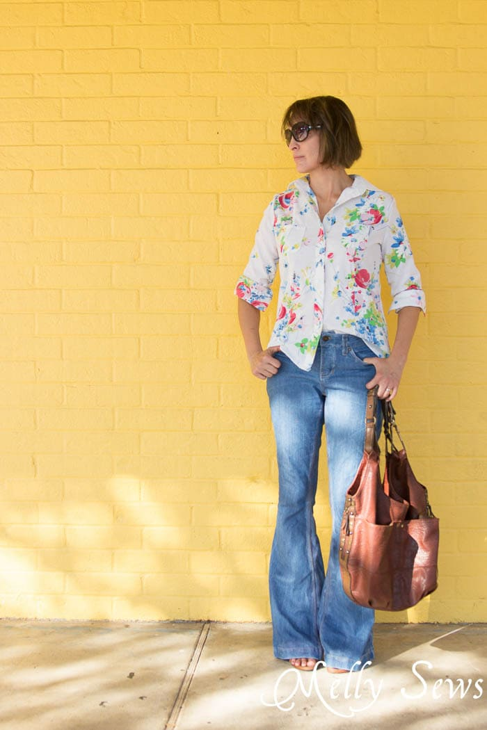 Vintage FAbric Shirt and Flared Jeans - Novelista Button Up Shirt sewn from a Vintage Sheet by Melly Sews
