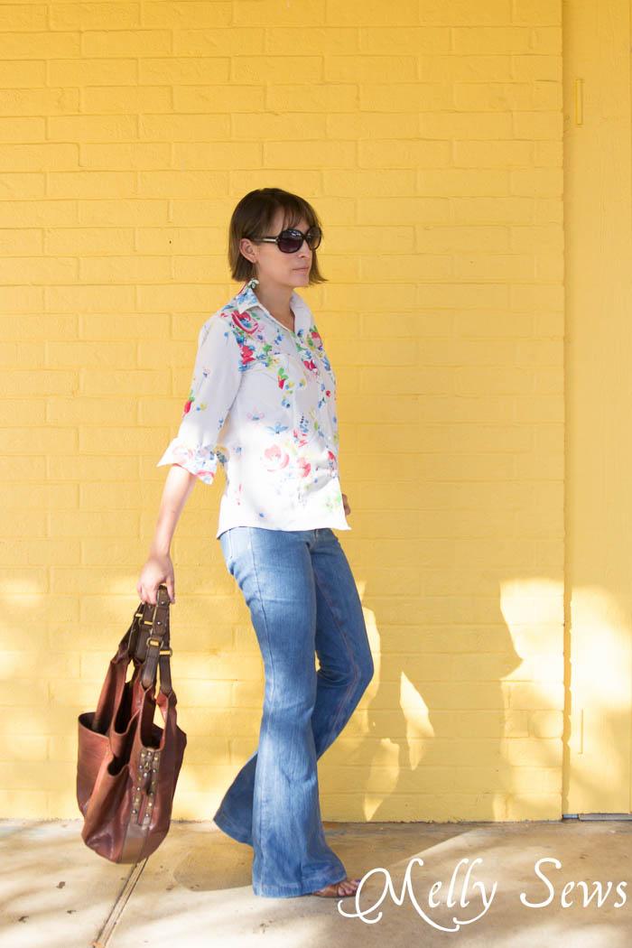Ginger Flares jeans and Novelista Button Up Shirt sewn from a Vintage Sheet by Melly Sews