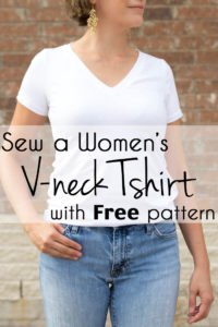 Sew a V-neck Women's T-shirt - Use this free pattern and tutorial from Melly Sews. Every girl needs this!