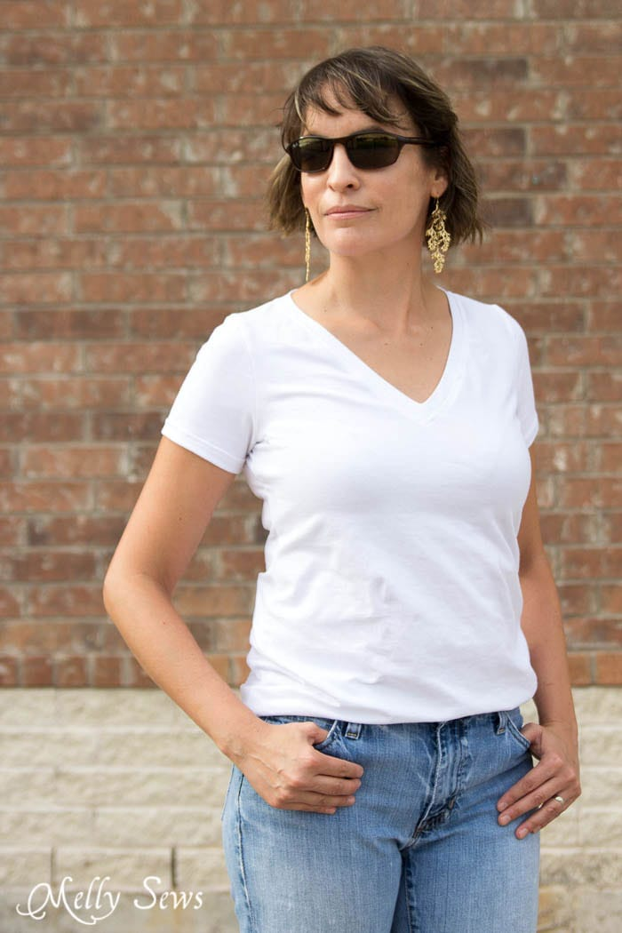 Every girl needs these in her closet - Sew a V-neck Women's T-shirt - Use this free pattern and tutorial from Melly Sews