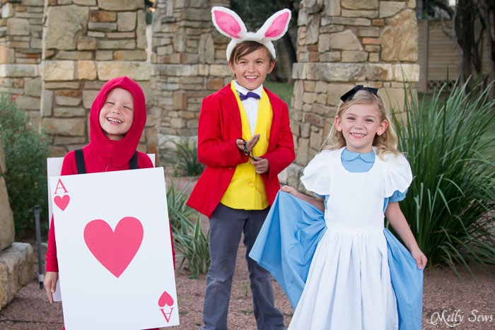Alice in Wonderland Cartoon Style Sibling Costumes - Alice in Wonderland Costume - Sew a DIY Alice in Wonderland costume with a free pattern and tutorial from Melly Sews