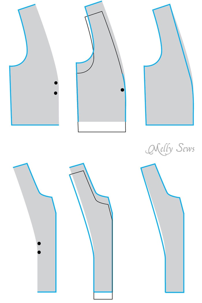 How to raise or lower the bust apex on a princess seamed pattern - Bust Apex Adjustment Tutorial - Melly Sews
