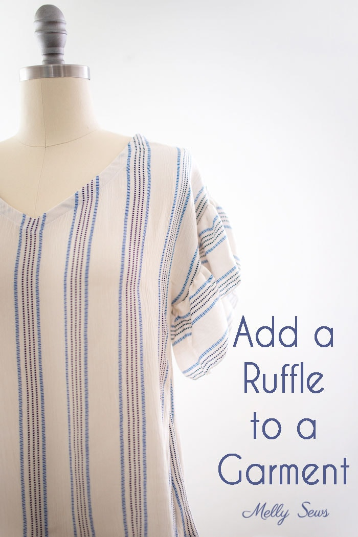How to sew a ruffle - Esma woven t-shirt pattern with ruffle sleeve hack - Melly Sews