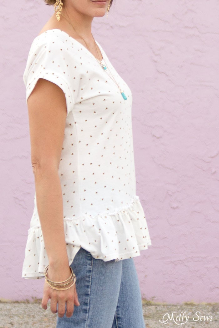 Side view - Make a ruffled hem tshirt - sew a t-shirt with a ruffle hem using this pattern and tutorial from Melly Sews