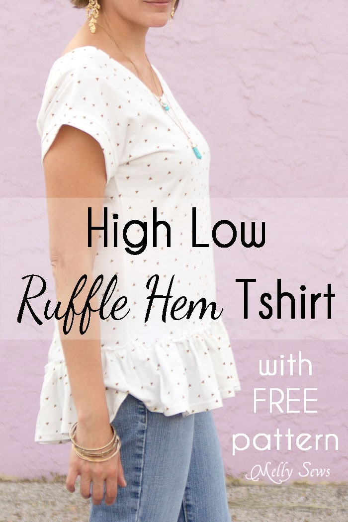 Make a ruffled hem tshirt - sew a t-shirt with a ruffle hem using this pattern and tutorial from Melly Sews
