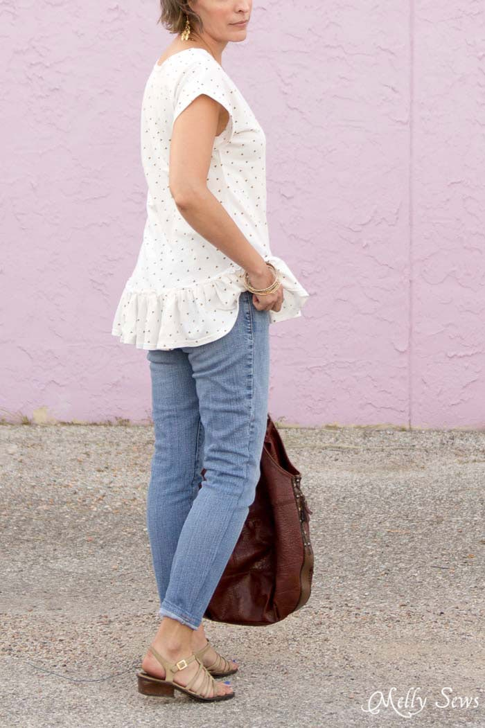 Back view - Make a ruffled hem tshirt - sew a t-shirt with a ruffle hem using this pattern and tutorial from Melly Sews