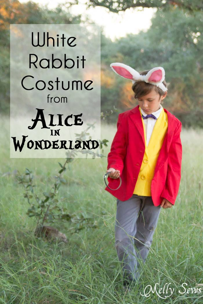 White Rabbit Costume from cartoon Alice in Wonderland - DIY Halloween Costume - Sewing Patterns to make a White Rabbit Costume - Melly Sews
