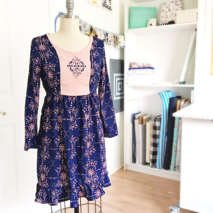 Auberley Dress by Blank Slate Patterns with embroider added to front panel